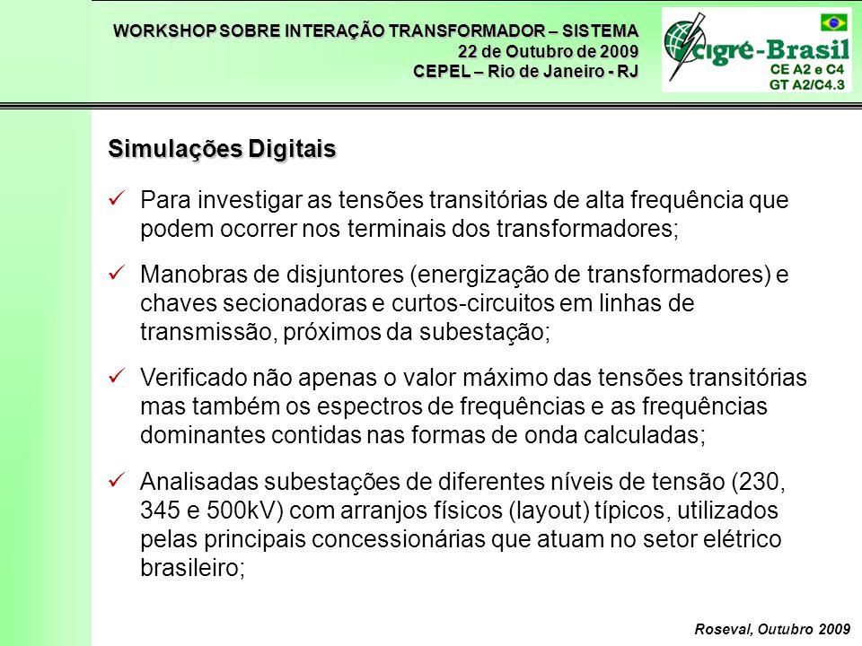 Simulações Digitais Para investigar as tensões transitórias de alta frequência que podem ocorrer nos terminais dos transformadores;