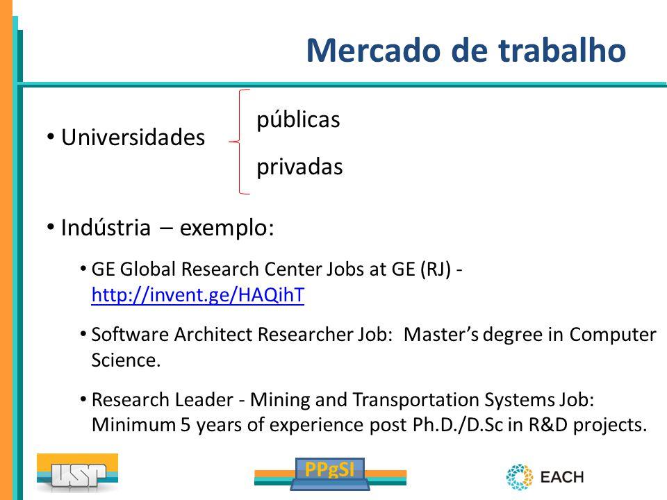 Mercado de trabalho Universidades públicas privadas