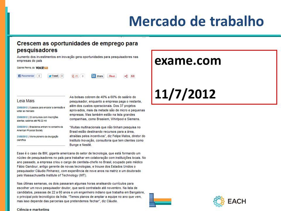 Mercado de trabalho exame.com 11/7/2012 11