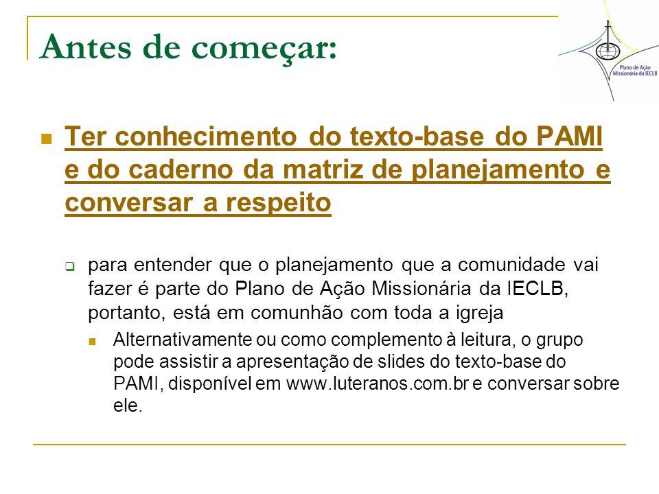Antes de começar: Ter conhecimento do texto-base do PAMI e do caderno da matriz de planejamento e conversar a respeito.
