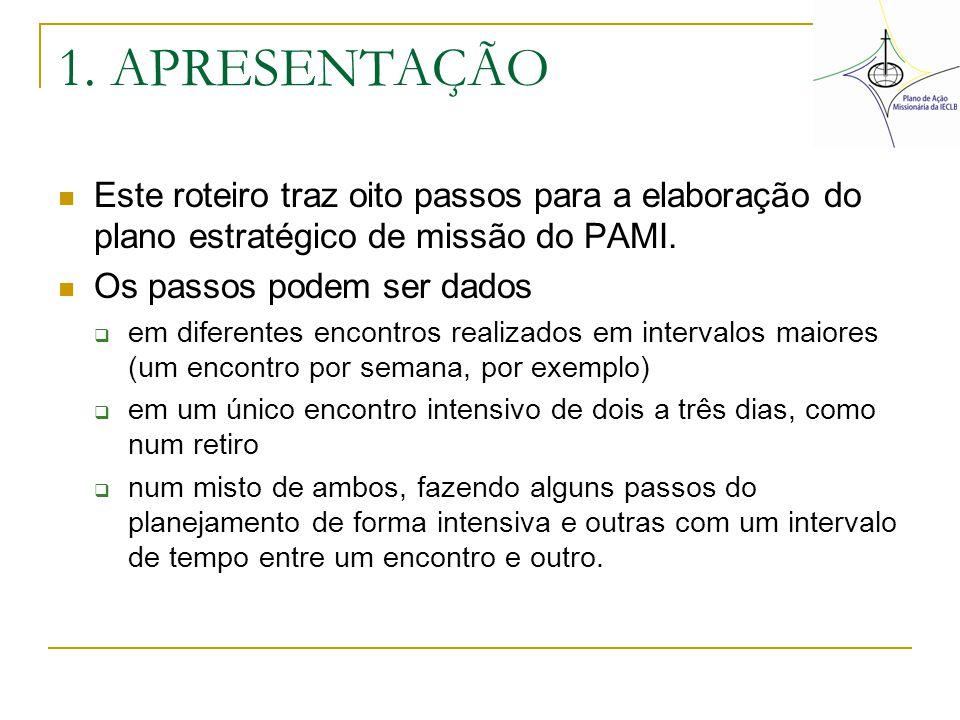 1. APRESENTAÇÃO Este roteiro traz oito passos para a elaboração do plano estratégico de missão do PAMI.