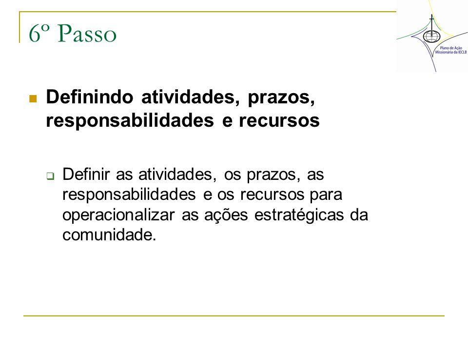 6º Passo Definindo atividades, prazos, responsabilidades e recursos