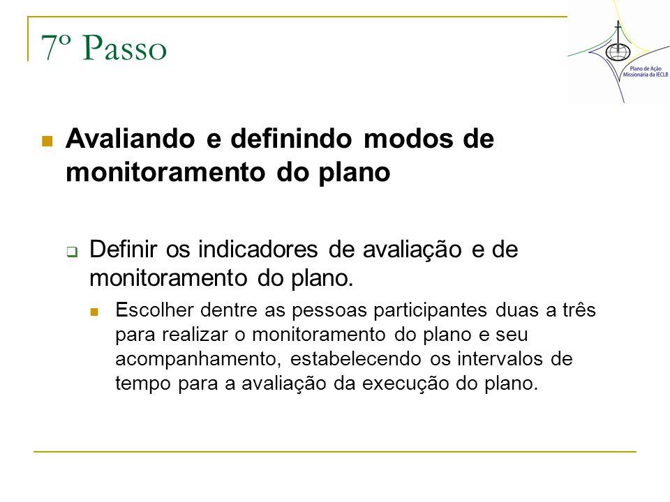 7º Passo Avaliando e definindo modos de monitoramento do plano