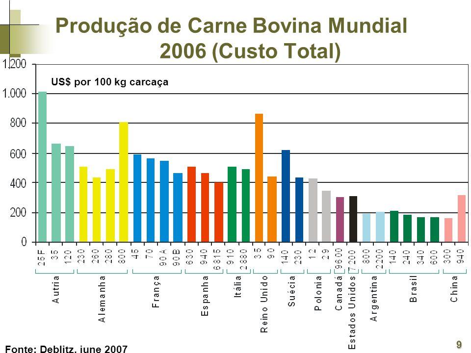 Produção de Carne Bovina Mundial 2006 (Custo Total)