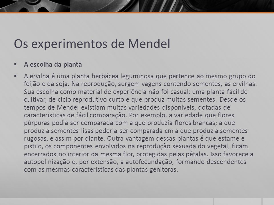 Os experimentos de Mendel