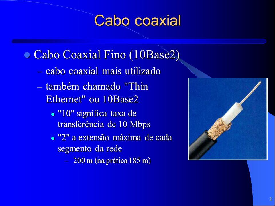 Cabo coaxial Cabo Coaxial Fino (10Base2) cabo coaxial mais utilizado