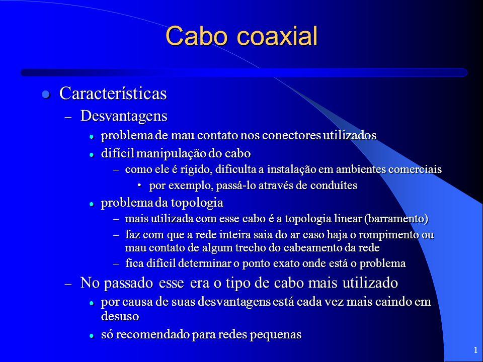 Cabo coaxial Características Desvantagens