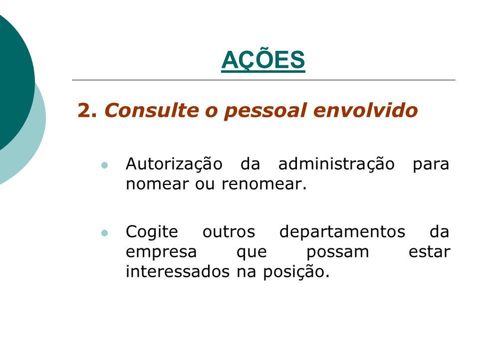 AÇÕES 2. Consulte o pessoal envolvido