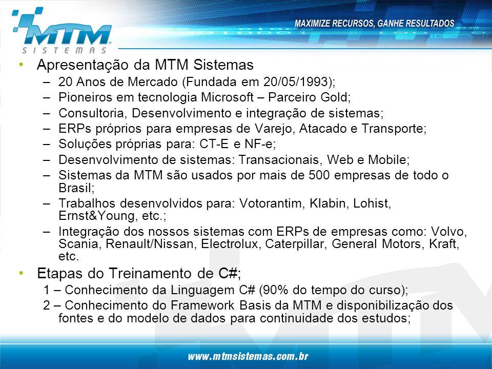 Apresentação da MTM Sistemas