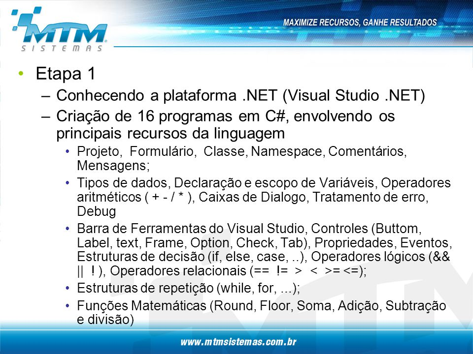 Etapa 1 Conhecendo a plataforma .NET (Visual Studio .NET)