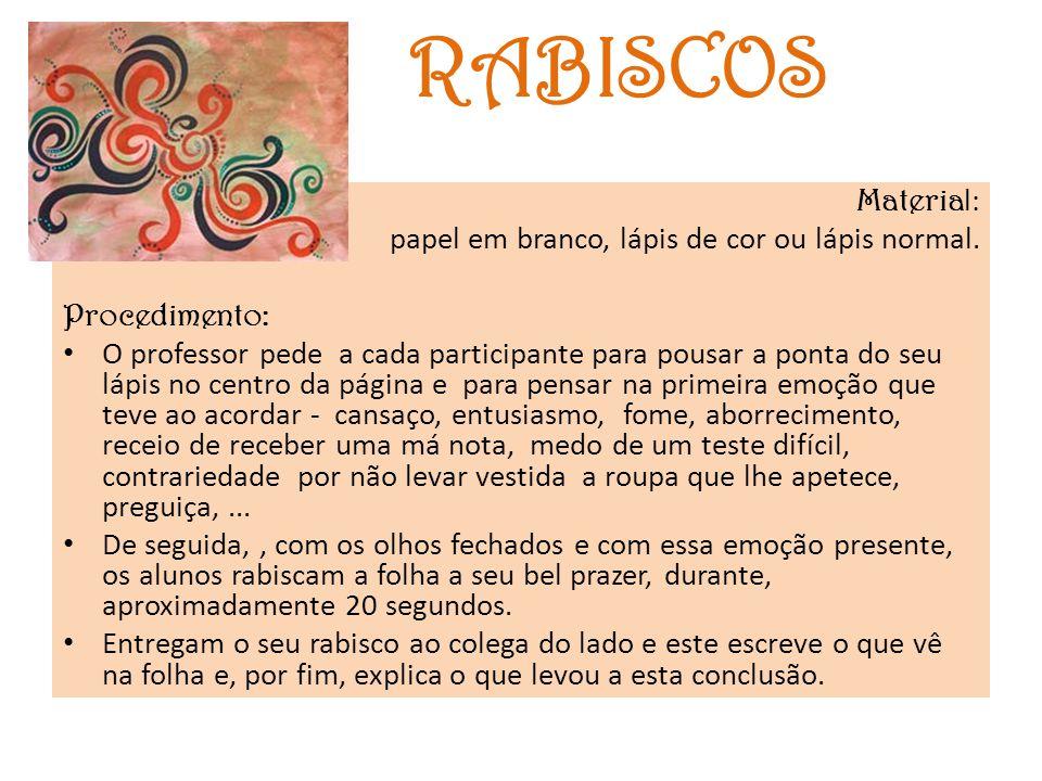 RABISCOS Material: papel em branco, lápis de cor ou lápis normal.