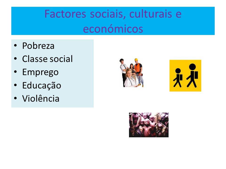 Factores sociais, culturais e económicos