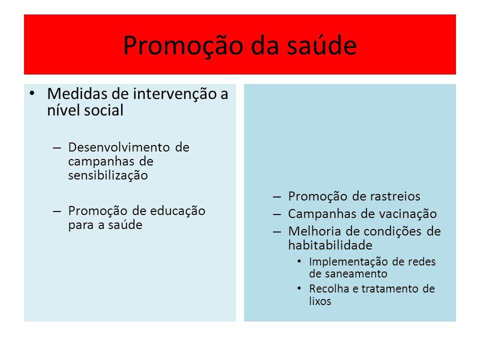Promoção da saúde Medidas de intervenção a nível social