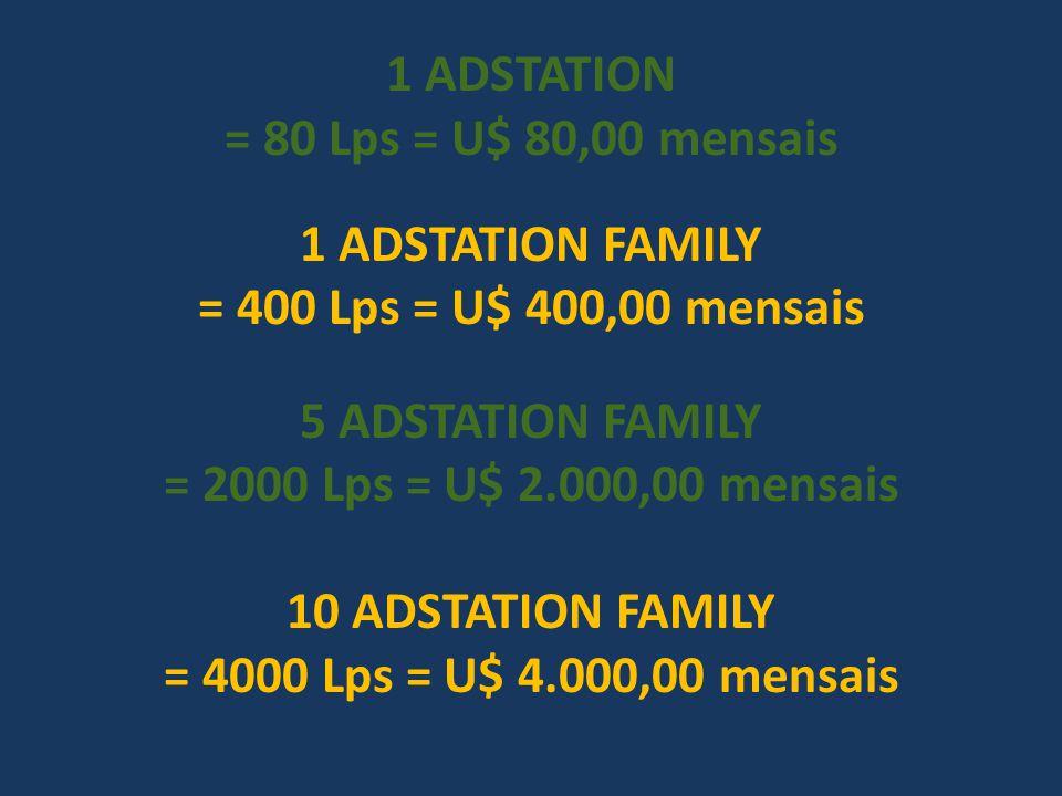 1 ADSTATION = 80 Lps = U$ 80,00 mensais. 1 ADSTATION FAMILY. = 400 Lps = U$ 400,00 mensais. 5 ADSTATION FAMILY.