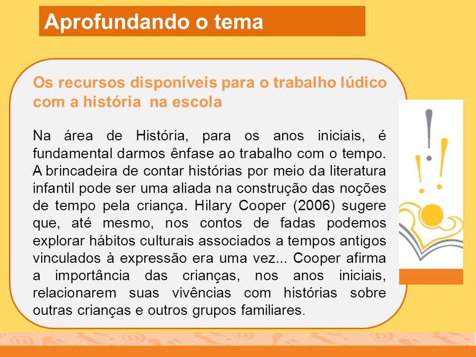 Aprofundando o tema Os recursos disponíveis para o trabalho lúdico com a história na escola.