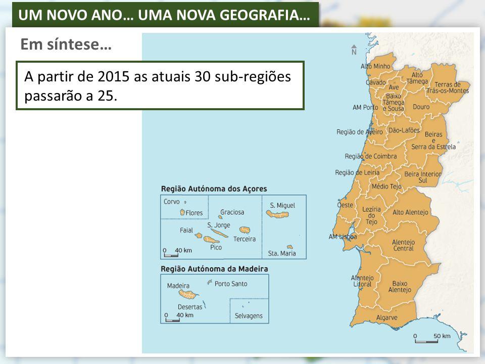 Em síntese… A partir de 2015 as atuais 30 sub-regiões passarão a 25.