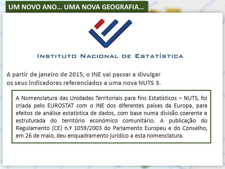 A partir de janeiro de 2015, o INE vai passar a divulgar os seus indicadores referenciados a uma nova NUTS 3.