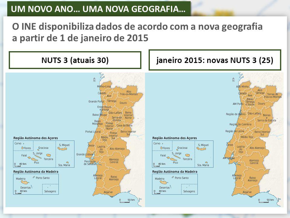 O INE disponibiliza dados de acordo com a nova geografia a partir de 1 de janeiro de 2015