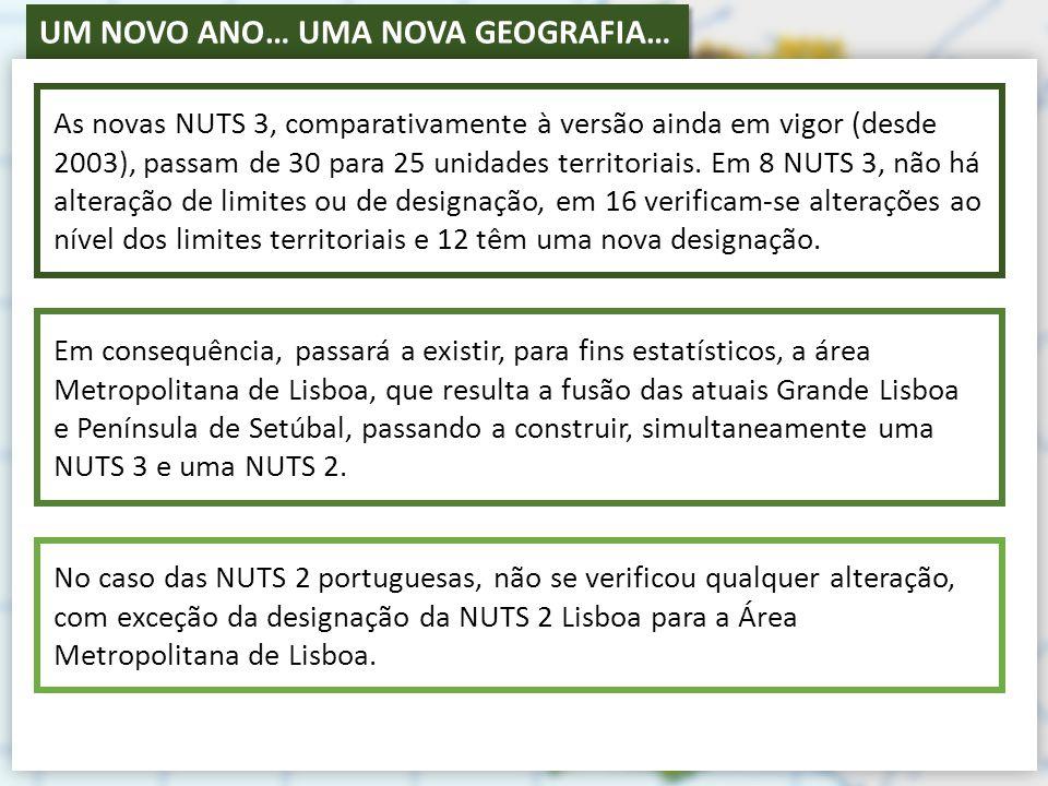 As novas NUTS 3, comparativamente à versão ainda em vigor (desde 2003), passam de 30 para 25 unidades territoriais. Em 8 NUTS 3, não há alteração de limites ou de designação, em 16 verificam-se alterações ao nível dos limites territoriais e 12 têm uma nova designação.