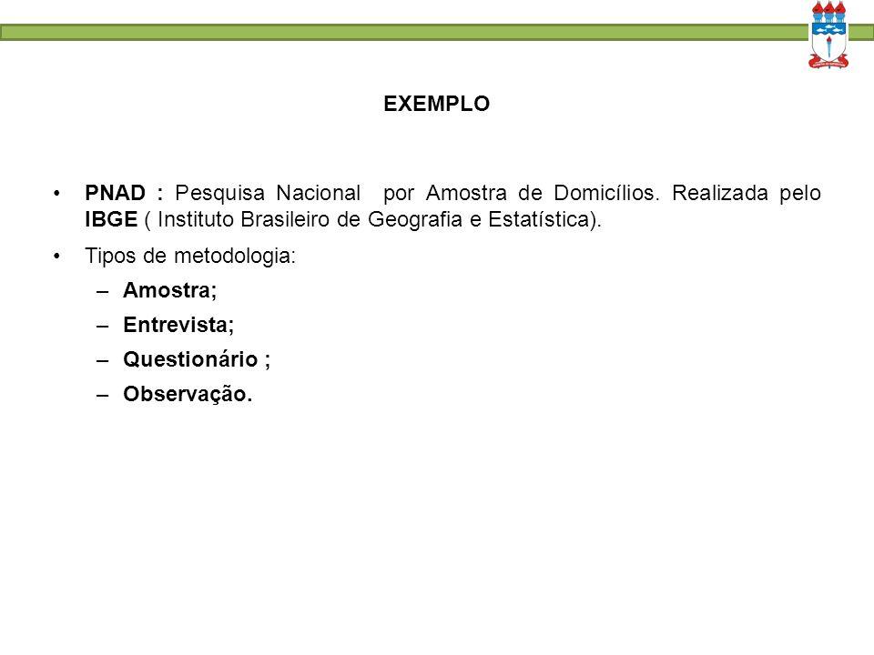 EXEMPLO PNAD : Pesquisa Nacional por Amostra de Domicílios. Realizada pelo IBGE ( Instituto Brasileiro de Geografia e Estatística).