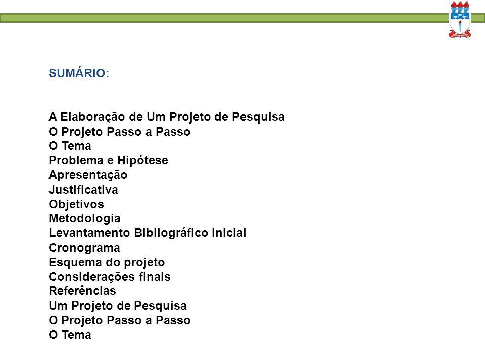 SUMÁRIO: A Elaboração de Um Projeto de Pesquisa. O Projeto Passo a Passo. O Tema. Problema e Hipótese.