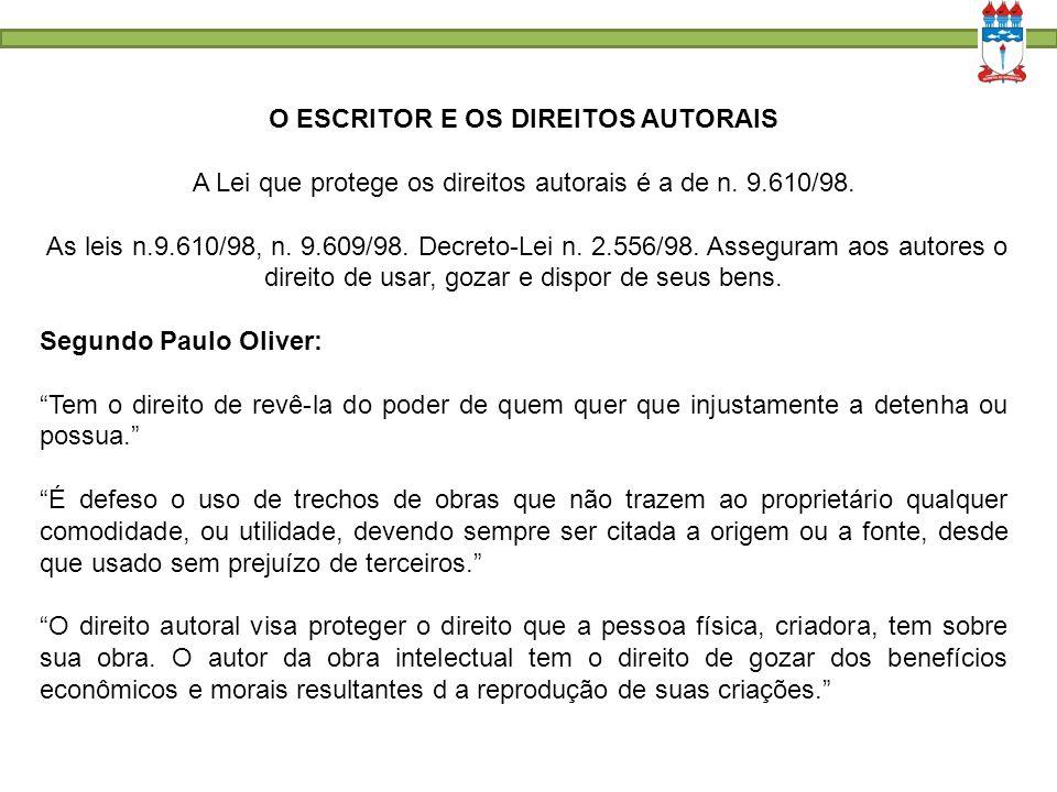 O ESCRITOR E OS DIREITOS AUTORAIS