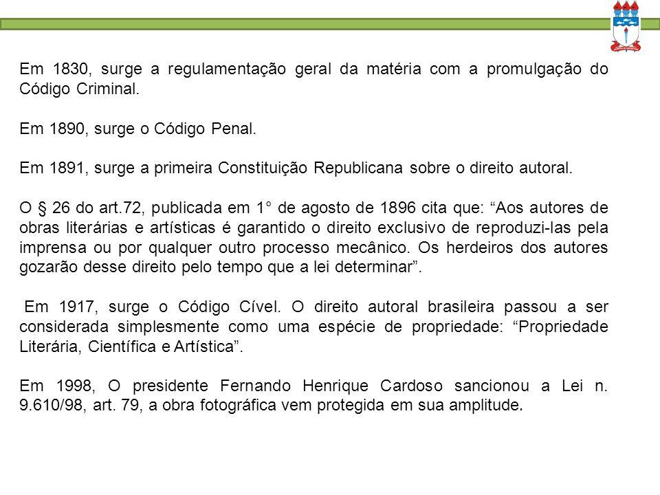 Em 1830, surge a regulamentação geral da matéria com a promulgação do Código Criminal.