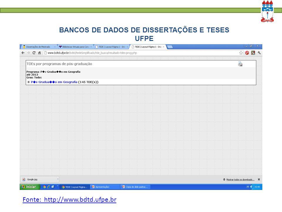 BANCOS DE DADOS DE DISSERTAÇÕES E TESES