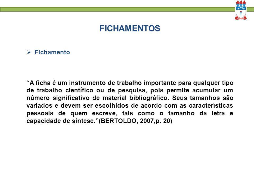 FICHAMENTOS Fichamento