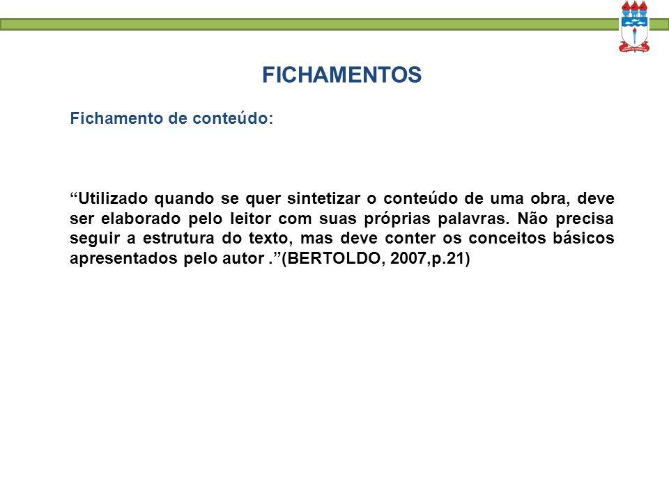 FICHAMENTOS Fichamento de conteúdo: