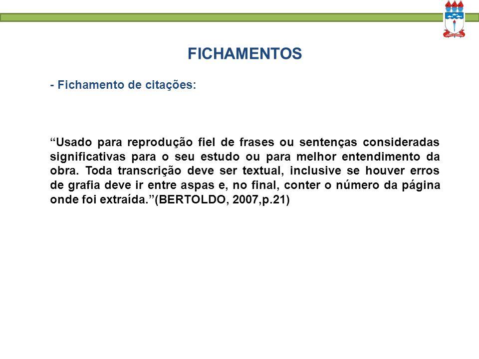 FICHAMENTOS - Fichamento de citações: