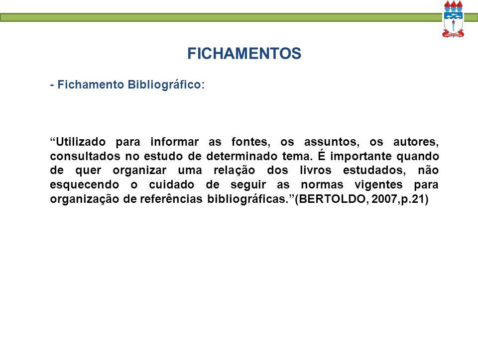 FICHAMENTOS - Fichamento Bibliográfico: