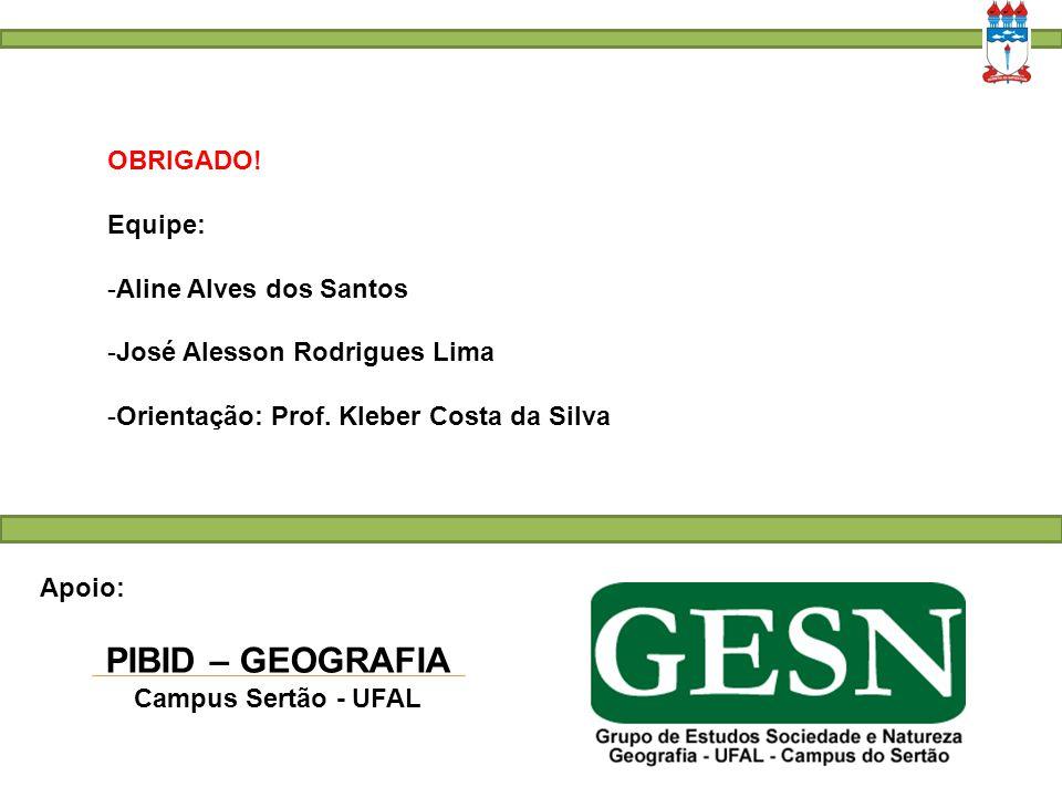 PIBID – GEOGRAFIA OBRIGADO! Equipe: Aline Alves dos Santos