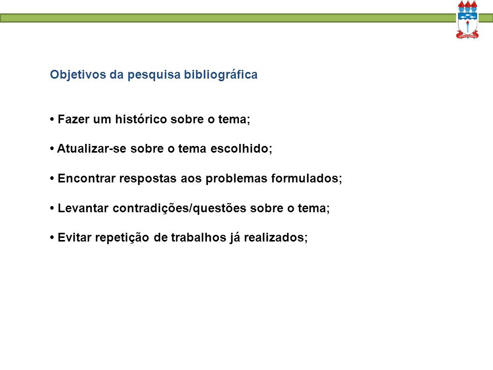 Objetivos da pesquisa bibliográfica
