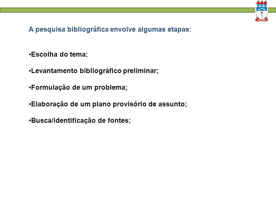 A pesquisa bibliográfica envolve algumas etapas: