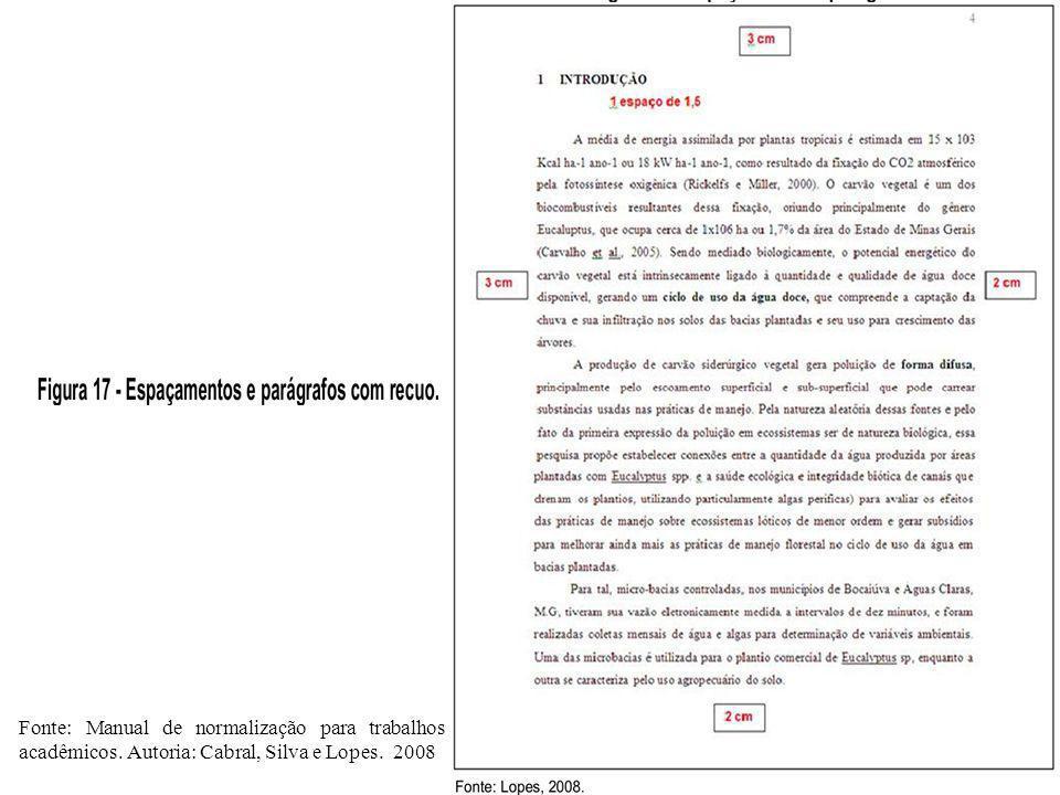 Fonte: Manual de normalização para trabalhos acadêmicos