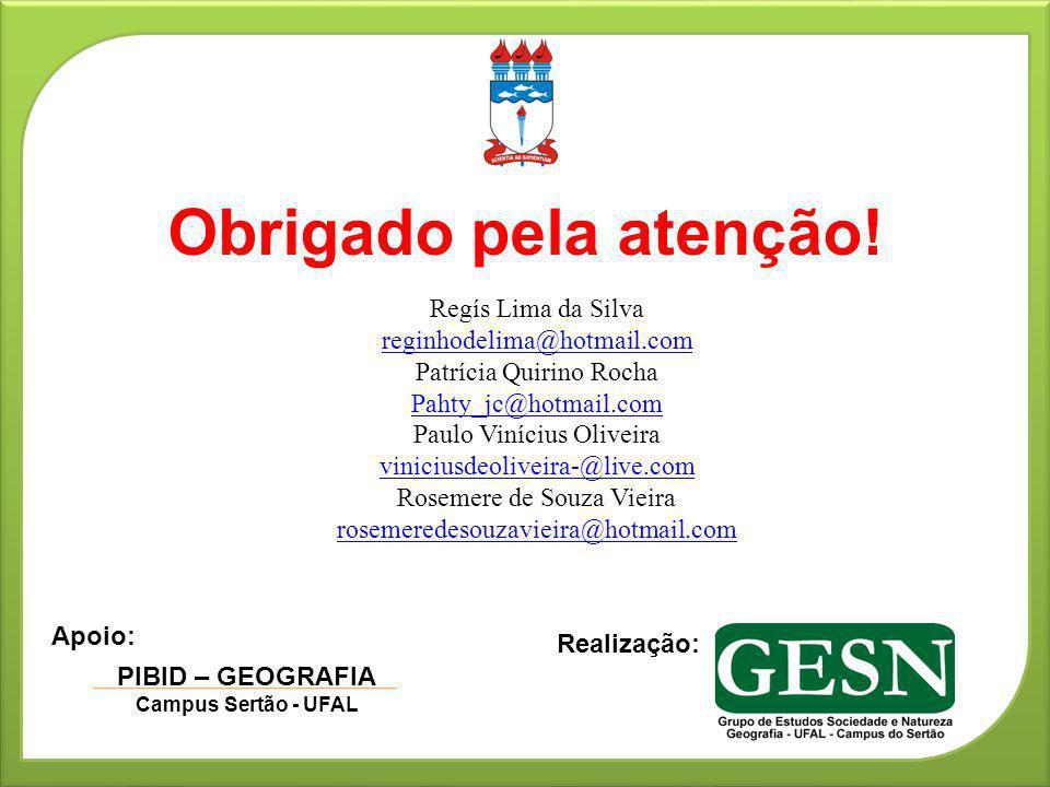 Obrigado pela atenção! Regís Lima da Silva reginhodelima@hotmail.com