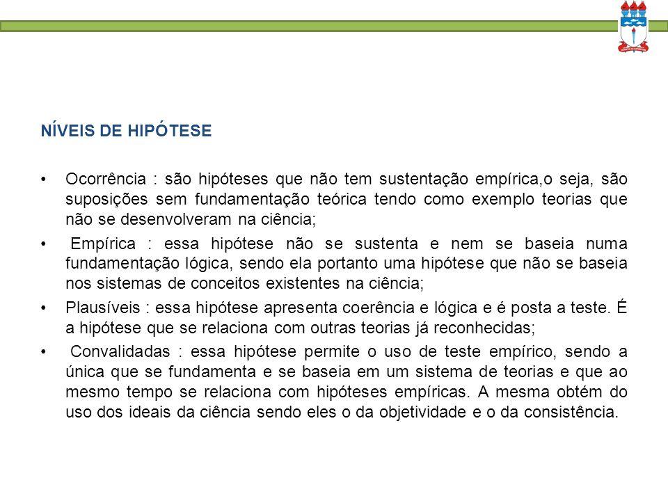 NÍVEIS DE HIPÓTESE