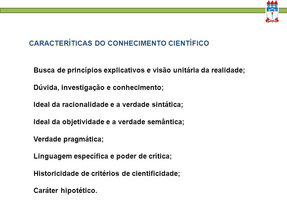 CARACTERÍTICAS DO CONHECIMENTO CIENTÍFICO