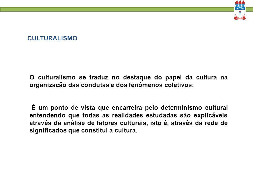 CULTURALISMO O culturalismo se traduz no destaque do papel da cultura na organização das condutas e dos fenômenos coletivos;