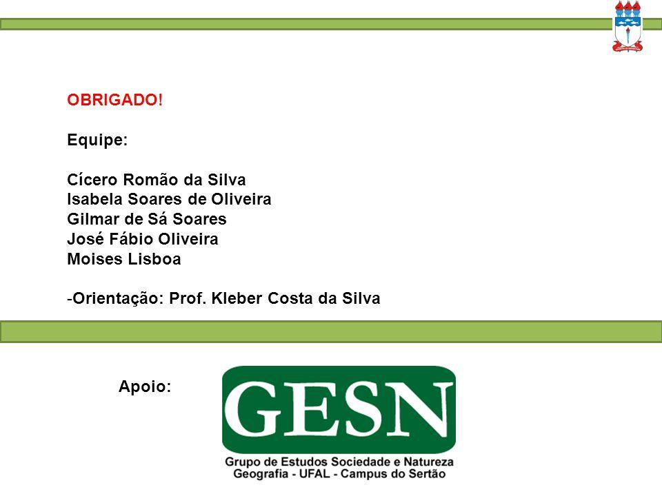 OBRIGADO! Equipe: Cícero Romão da Silva. Isabela Soares de Oliveira. Gilmar de Sá Soares. José Fábio Oliveira.