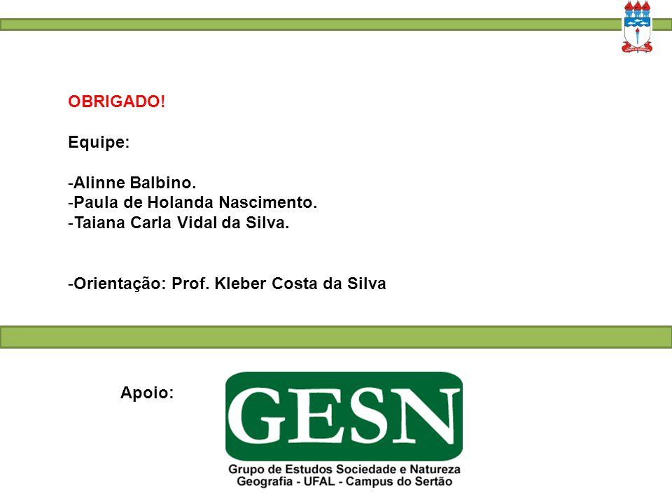 OBRIGADO! Equipe: Alinne Balbino. Paula de Holanda Nascimento. Taiana Carla Vidal da Silva. Orientação: Prof. Kleber Costa da Silva.