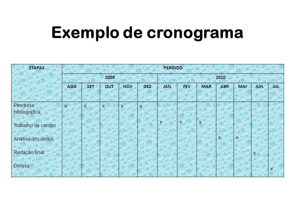 Exemplo de cronograma x ETAPAS PERÍODO 2009 2010 AGO SET OUT NOV DEZ