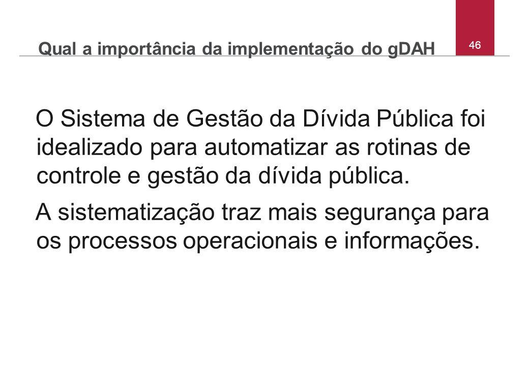Qual a importância da implementação do gDAH