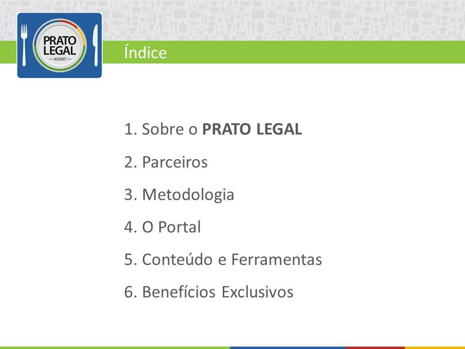 Índice 1. Sobre o PRATO LEGAL. 2. Parceiros. 3. Metodologia. 4. O Portal. 5. Conteúdo e Ferramentas.
