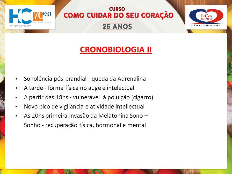 CRONOBIOLOGIA II Sonolência pós-prandial - queda da Adrenalina