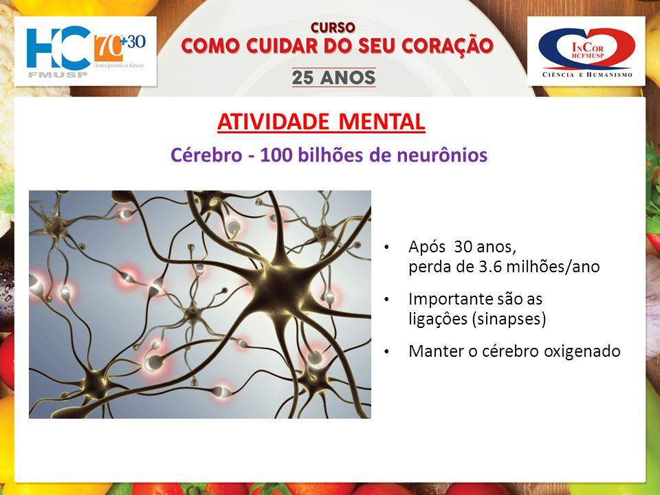 ATIVIDADE MENTAL Cérebro - 100 bilhões de neurônios