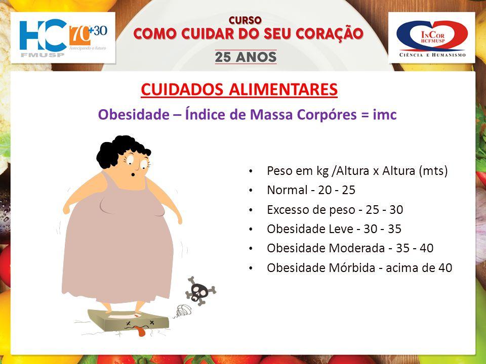 CUIDADOS ALIMENTARES Obesidade – Índice de Massa Corpóres = imc