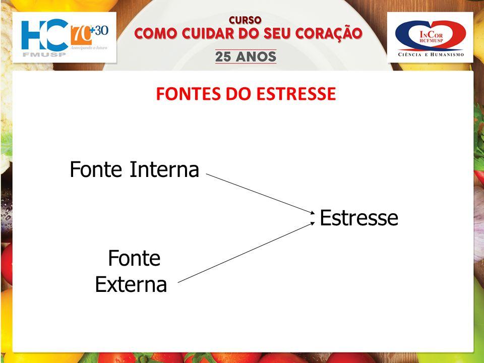 FONTES DO ESTRESSE Fonte Interna Estresse Fonte Externa