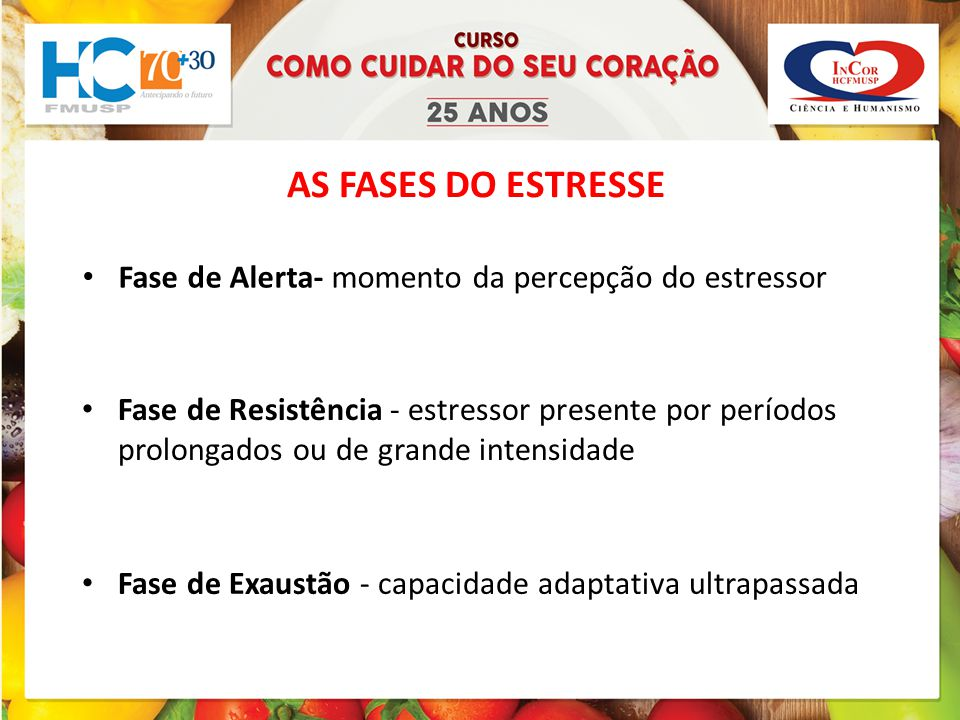 AS FASES DO ESTRESSE Fase de Alerta- momento da percepção do estressor